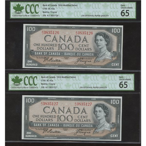 Bank of Canada $100, 1954 Consecutive Pair