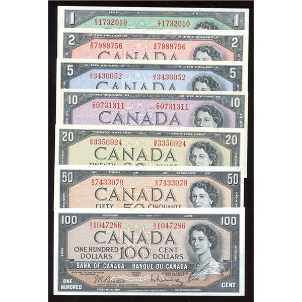 1954 Bank of Canada $1 - $100 Set