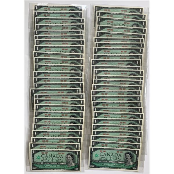 Bank of Canada $1, 1967 - Lot of 50 Notes
