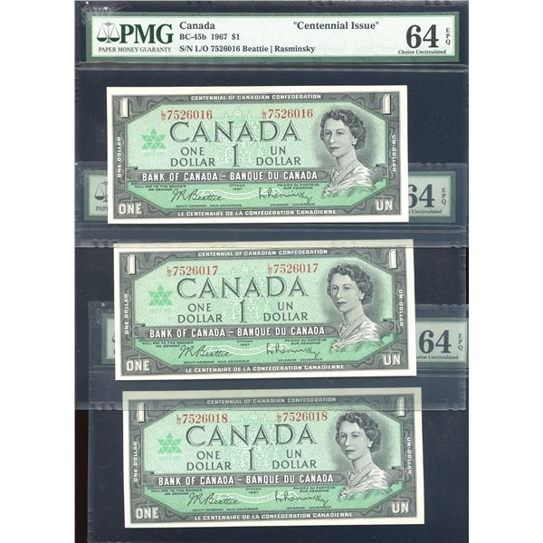 Bank of Canada $1, 1967 - 3 Consecutive Notes