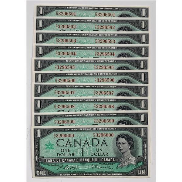 Bank of Canada $1, 1967 - Lot of 10 Consecutive