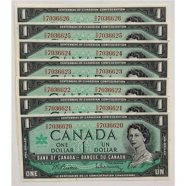 Bank of Canada $1, 1967 - Lot of 7 Consecutive