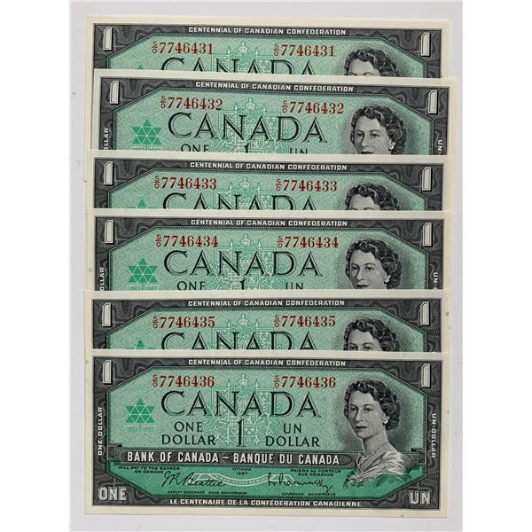 Bank of Canada $1, 1967 - Lot of 6 Consecutive