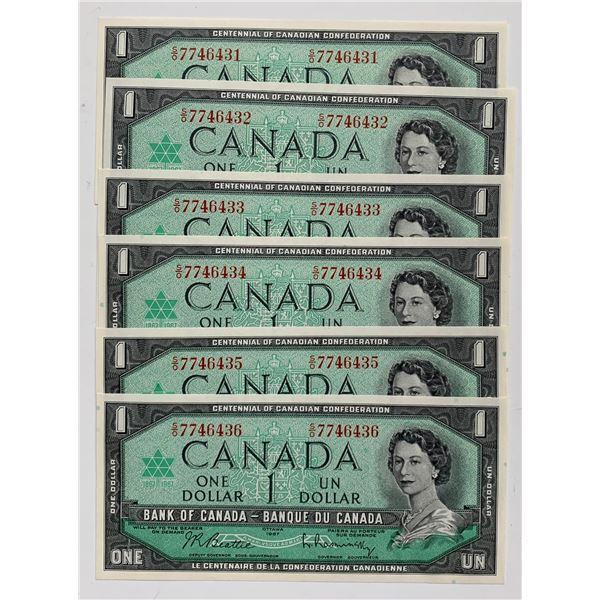 Bank of Canada $1, 1967 - Lot of 6 Consecutive