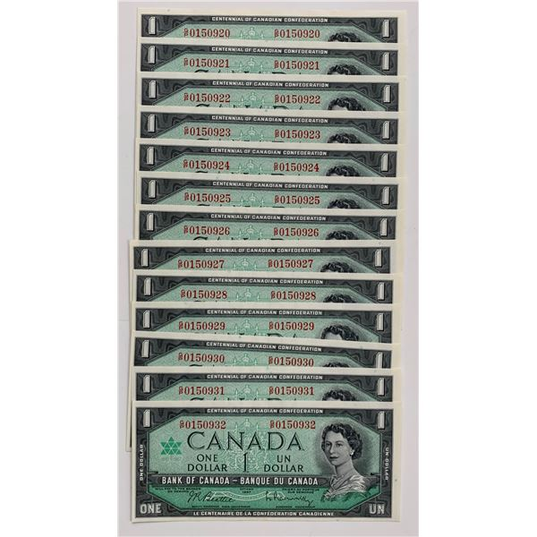 Bank of Canada $1, 1967 - Lot of 13 Consecutive