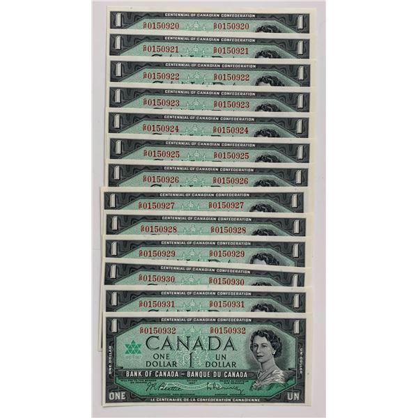 Bank of Canada $1, 1967 - Lot of 13 Consecutive