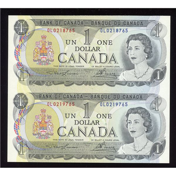 "RARE Pair - Bank of Canada $1, 1973 ""OL"" Sheet"