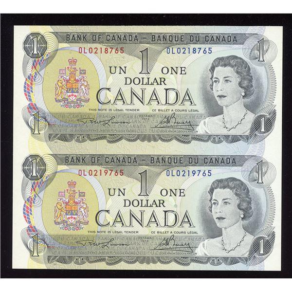 """RARE Pair - Bank of Canada $1, 1973 """"OL"""" Sheet"""