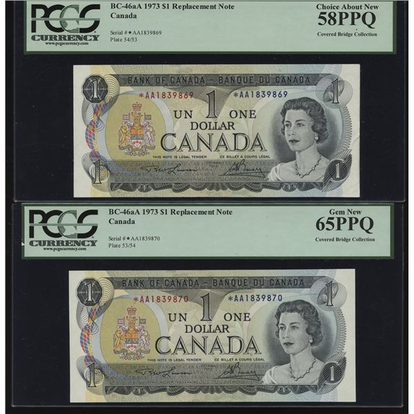 Bank of Canada $1, 1973 *AA Consecutive Pair