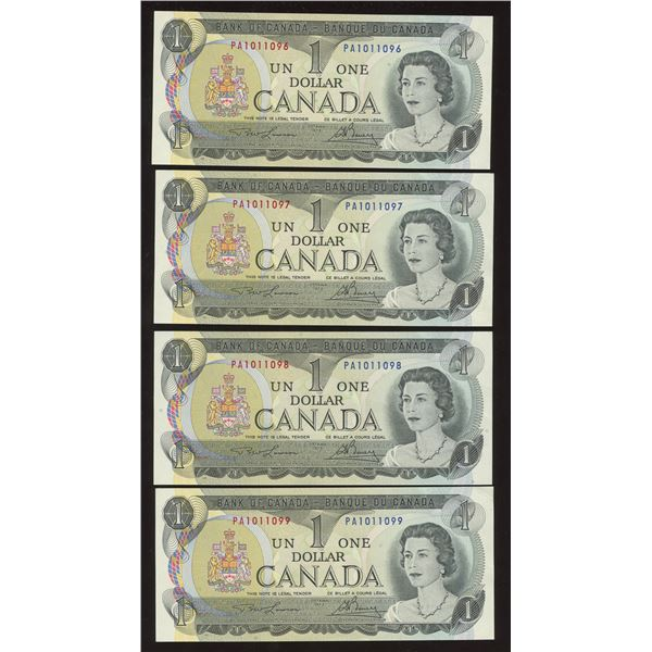 Bank of Canada $1, 1973 - Lot of 4 Consecutive Transitional Prefix's