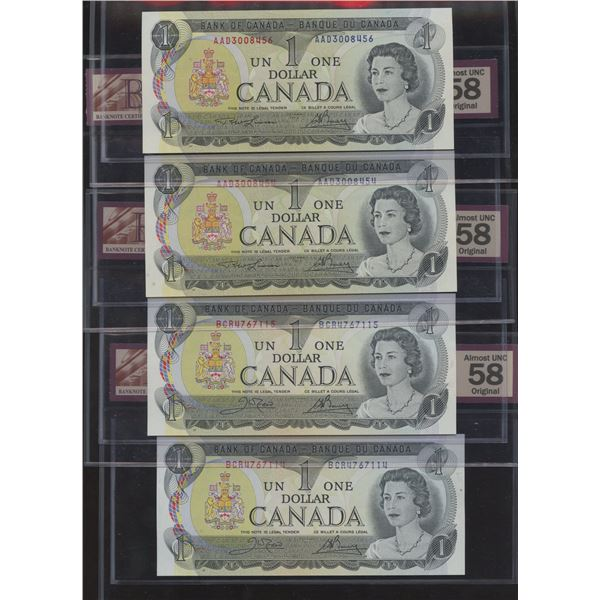 Bank of Canada $1, 1973 - Lot of 6 BCS Graded Notes