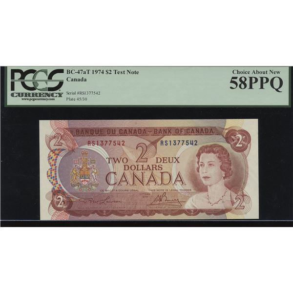Bank of Canada $2, 1974 Test Note