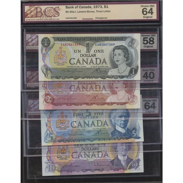 Multi-Coloured $1 Through $10 Note Set - All BCS Graded