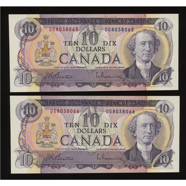 Bank of Canada $10, 1971 - Lot of 2 Consecutive