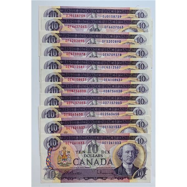 Bank of Canada $10, 1971 - Assorted 11 Notes