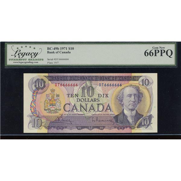 Bank of Canada $10, 1971 Solid Digit Radar