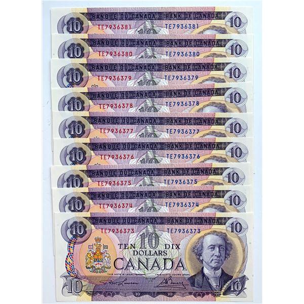 Bank of Canada $10, 1971 - Lot of 9 Consecutive