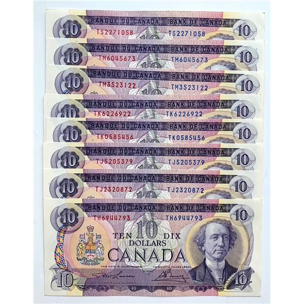 Bank of Canada $10, 1971 - Lot of 8 notes