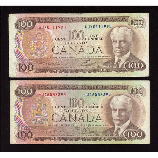Bank of Canada 1975, $100 Replacement Note Pair