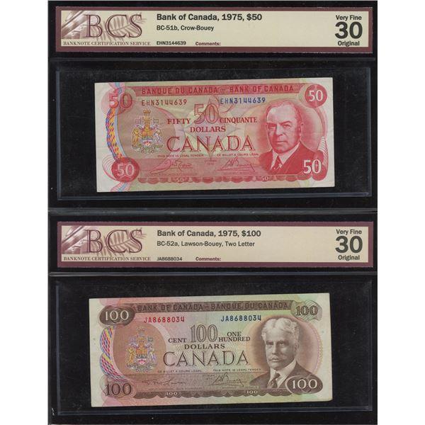 1975 Bank of Canada $50 & $100 BCS Graded Pair