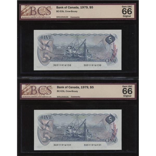 Bank of Canada $5, 1979 - Lot of 2 Consecutive