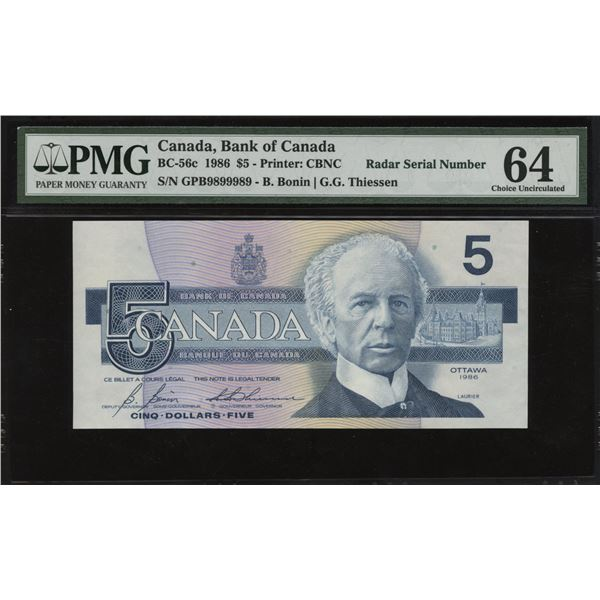 Bank of Canada $5, 1986 Radar Serial Number