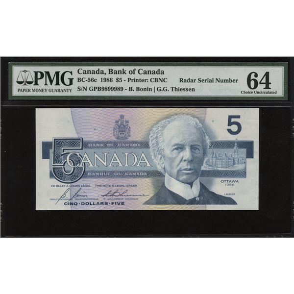 Bank of Canada $5, 1986 Radar Serial Number
