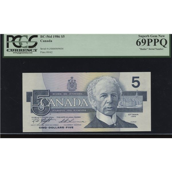 Bank of Canada $5, 1986 Radar