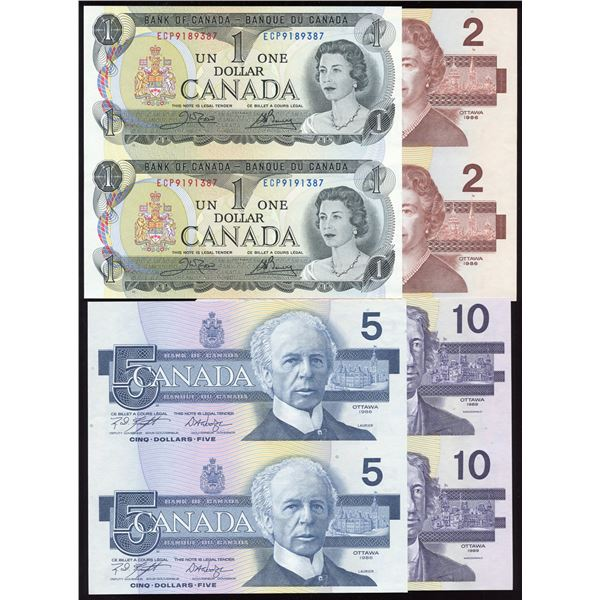 Bank of Canada Uncut pair lot; $1-$2-$5-$10