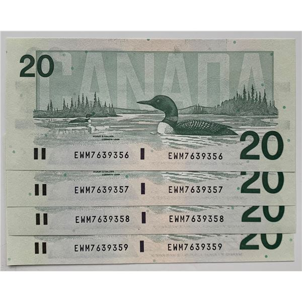 Bank of Canada $20, 1991 - Lot of 4 Consecutive