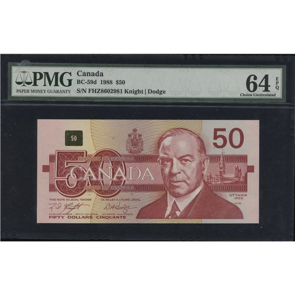 Bank of Canada $50 1988 - FHZ Replacement