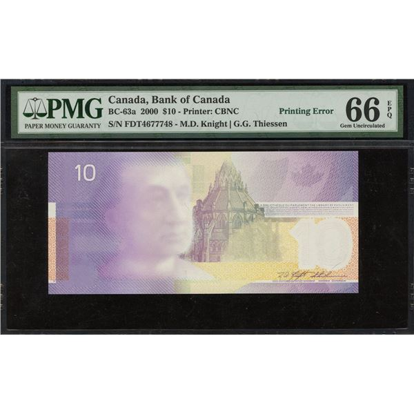 Bank of Canada $10, 2000 Incomplete Face Printing Error