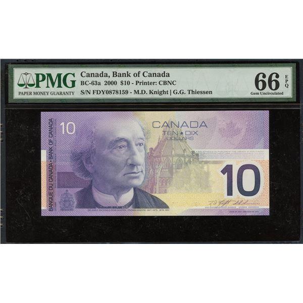 Bank of Canada $10, 2000 Transitional Prefix
