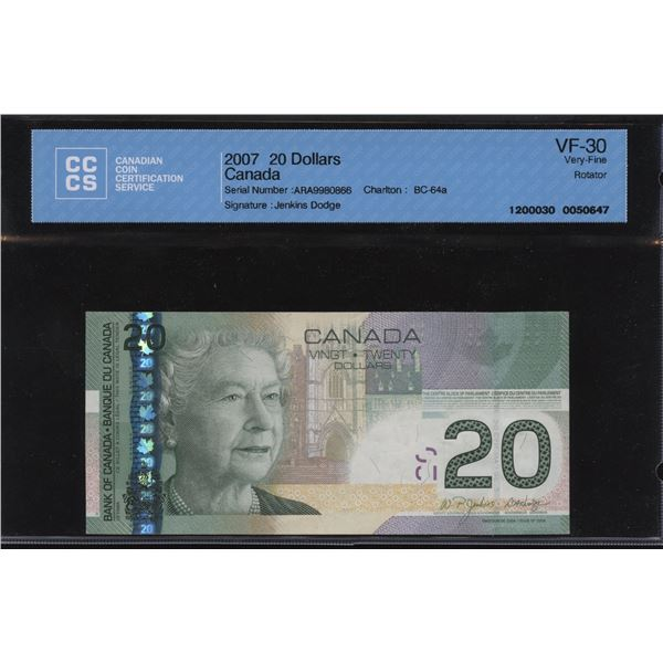 Bank of Canada $20, 2007 Rotator/SWIMS Note