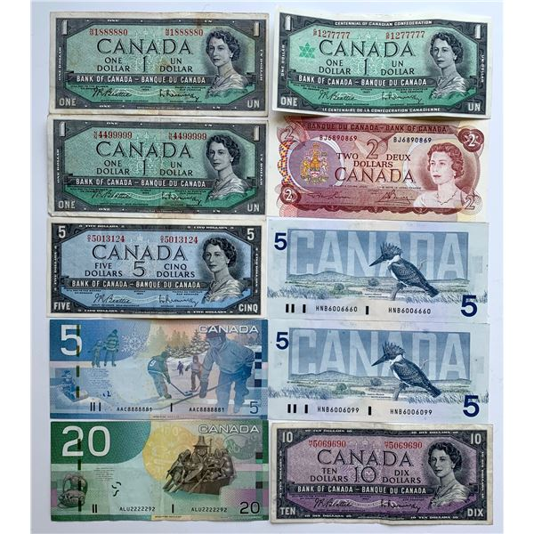 Fancy Number Bank of Canada Note Lot