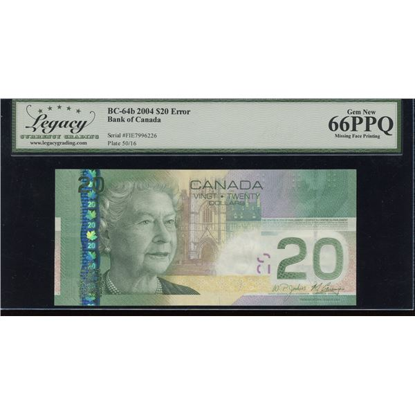 Bank of Canada $20,2004Missing Face Printing Error