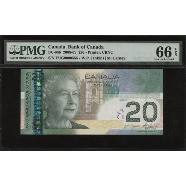 Bank of Canada $20,2008-09 Low Serial Number