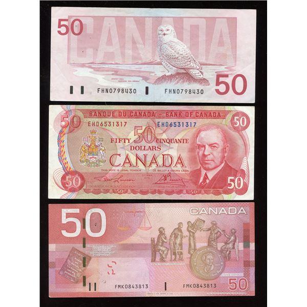 Bank of Canada $50 Trio