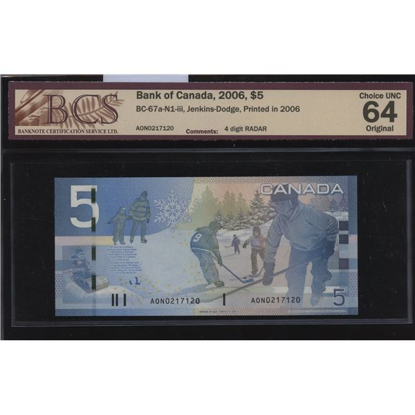 Bank of Canada $5, 2006 Radar