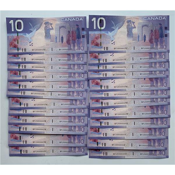 Bank of Canada $10, 2009 - Lot of 24 Consecutive