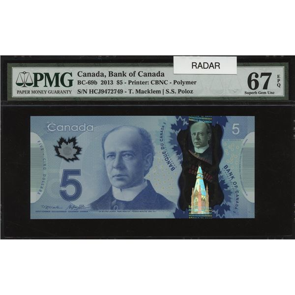 Bank of Canada $5, 2013 Radar