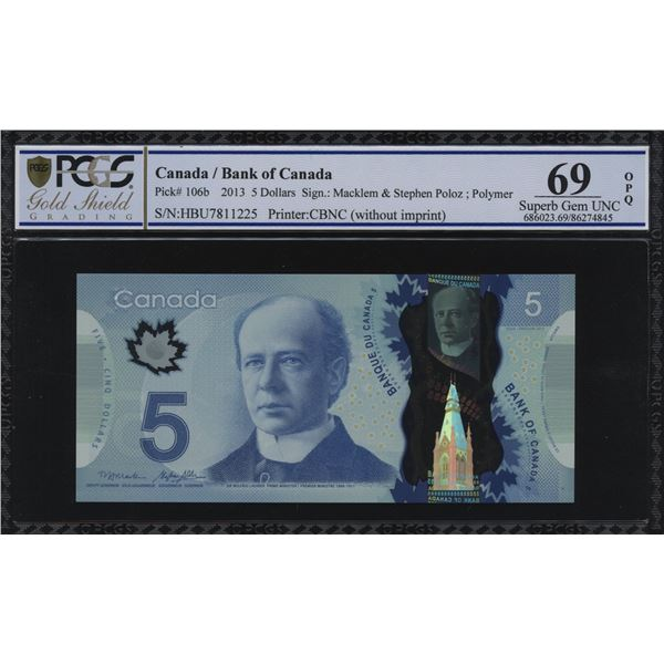 Bank of Canada $5, 2013