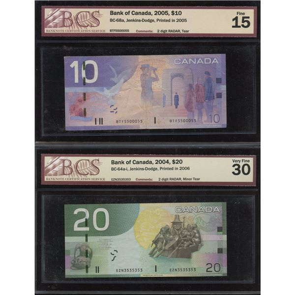 2004 Bank of Canada $20 & 2005 $10 Radar - Lot of 2