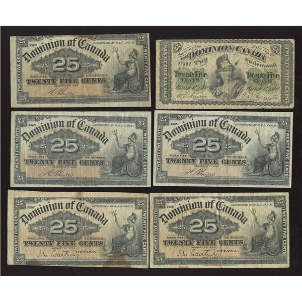 Dominion of Canada Twenty-Five Cents - Lot of 20 Notes