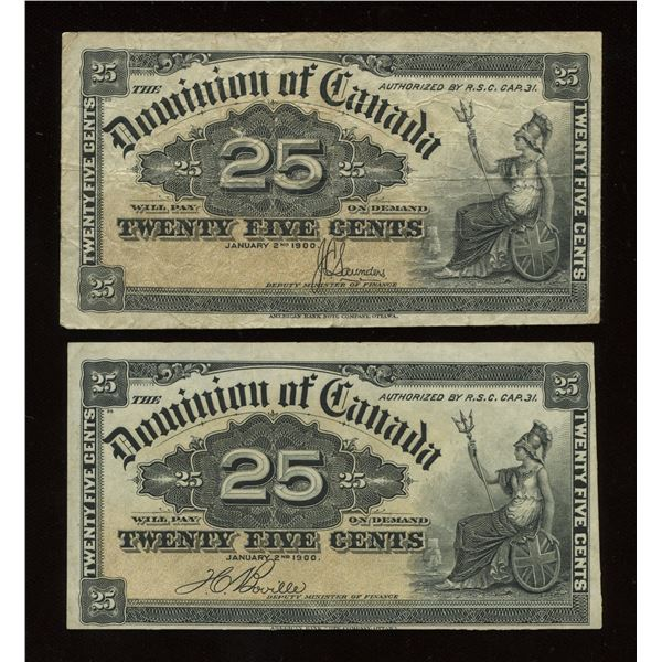 Dominion of Canada Twenty-Five Cents, 1900 - Lot of 2