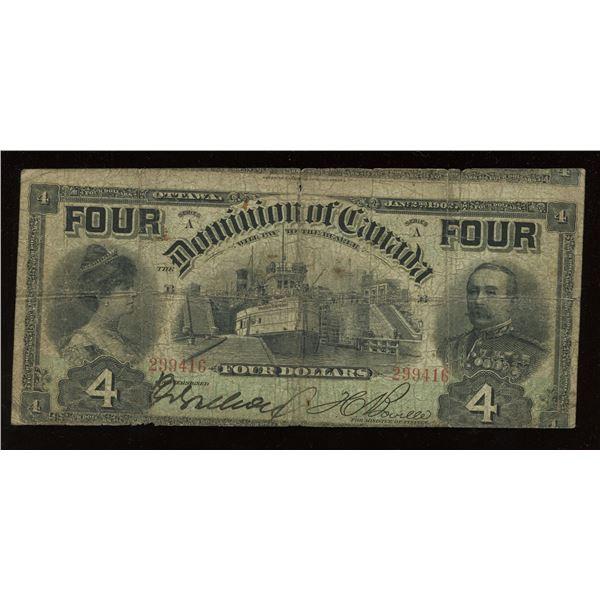 Dominion of Canada $4, 1902 Cutting Error