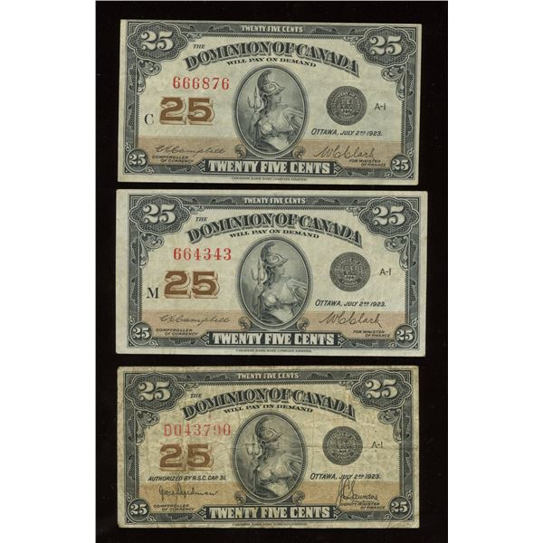 Dominion of Canada Twenty-Five Cents, 1923 - Lot of 3