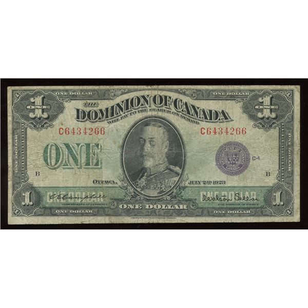 Dominion of Canada $1, 1923 Test Note