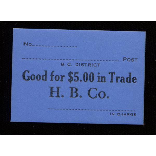 Hudson's Bay Company Generic Note for $5.00 in Trade.