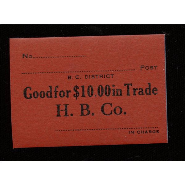 Hudson's Bay Company Generic Note for $10.00 in Trade.